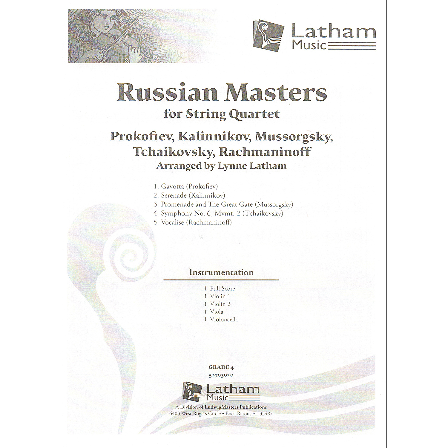 Russian Masters for string quartet, arranged by Lynne Latham, extra score  (Latham Music))