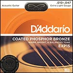 D'Addario EXP15 Coated Phosphor Bronze Extra Light (.010-.047) Acoustic Guitar String Set
