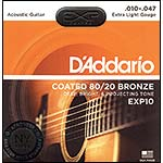 D'Addario EXP10 Coated 80/20 Bronze Acoustic Guitar String Set, Extra Light Gauge .010-.047